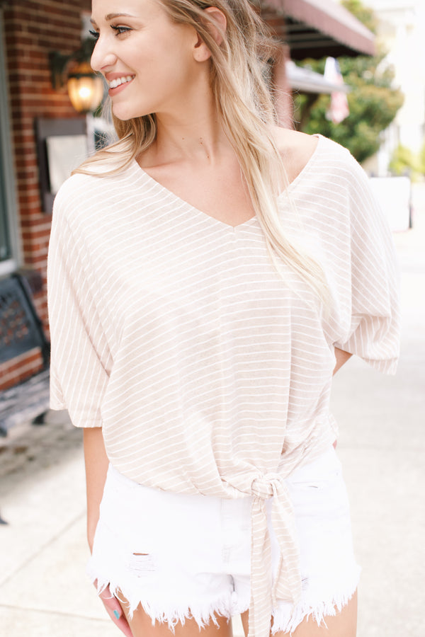 Carrie Striped Top, Stone