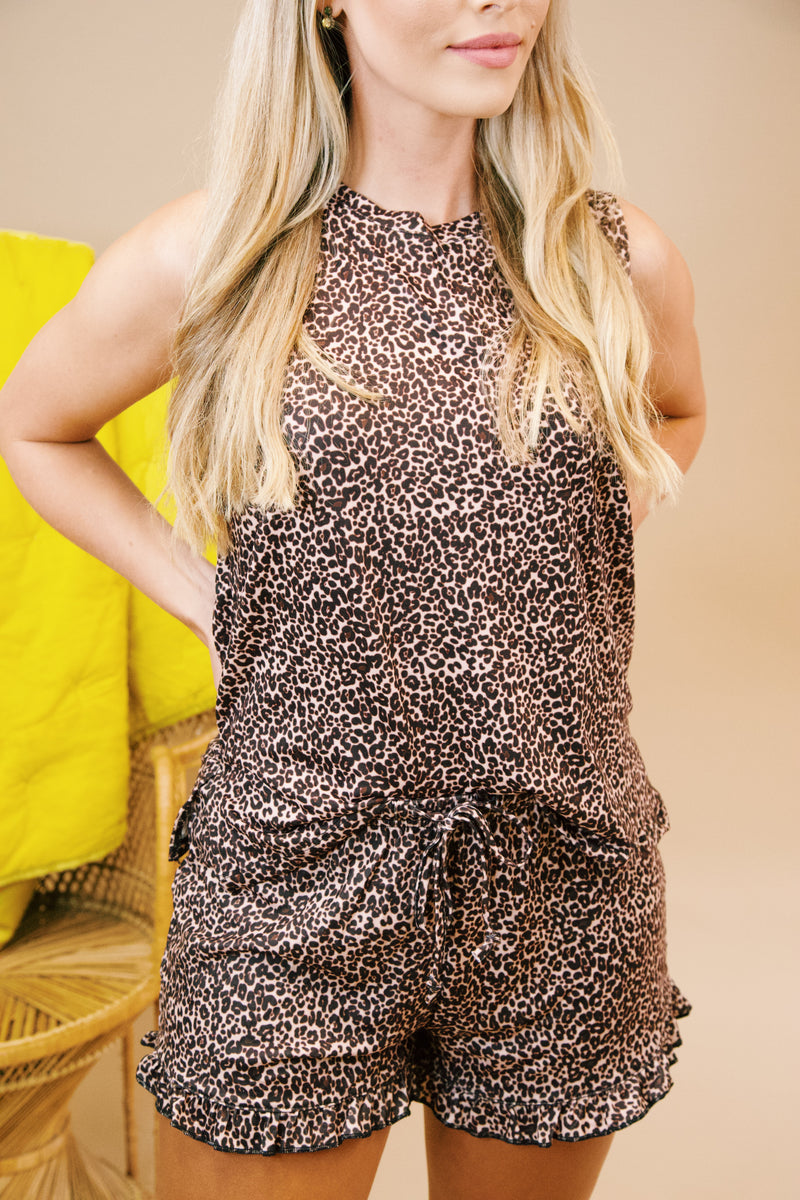 Show Me Love Sleeveless Lounge Tank, Brown Leopard | Extended Sizes Available