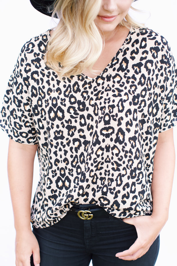 Animal Print Top, Taupe Mix