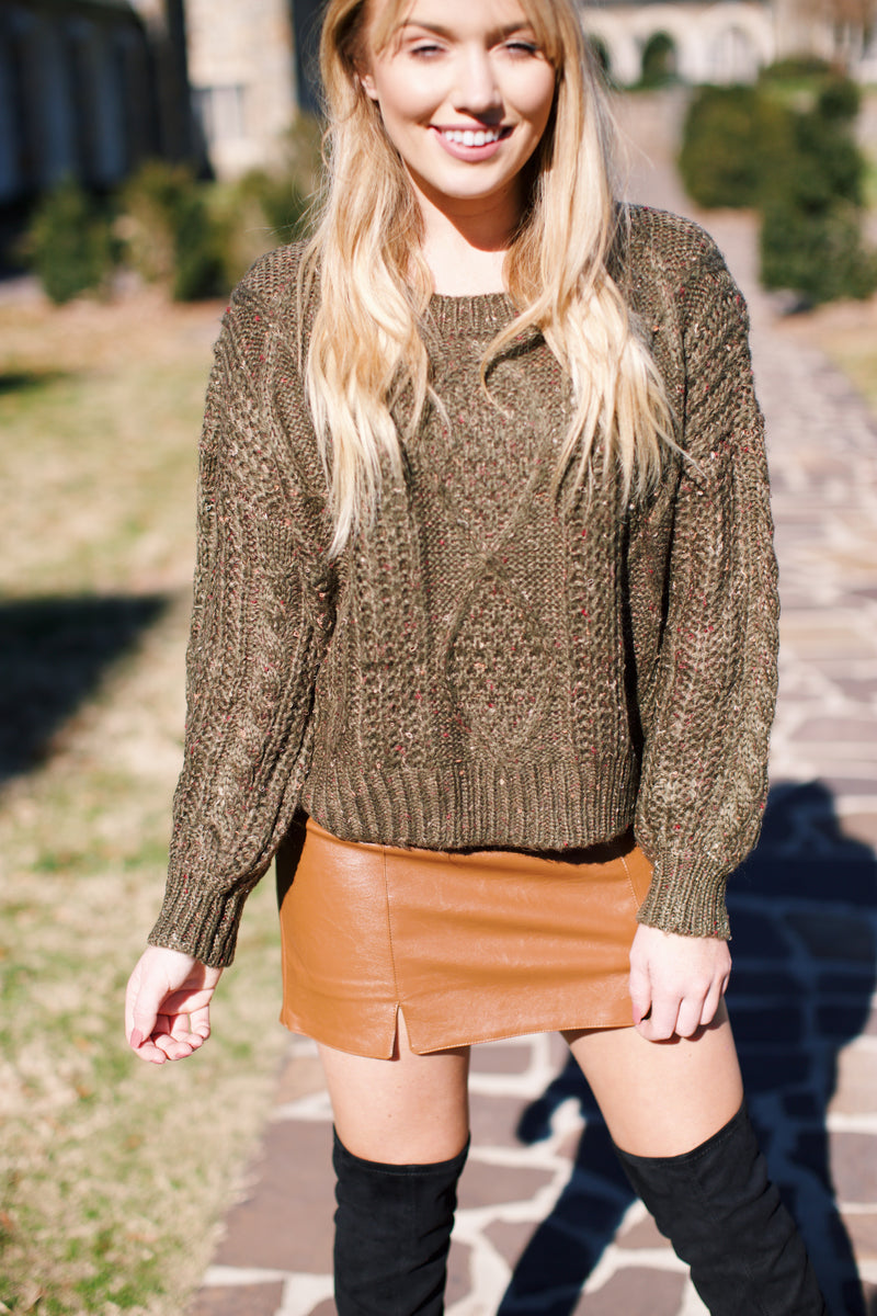 Oxford Haze Cable Knit Cropped Sweater, Olive