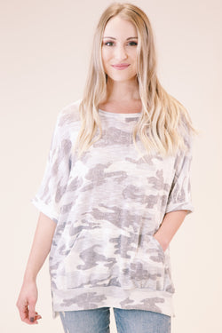 Mountain Jam Camo Knit Oversized Tee, Grey Multi
