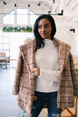 Seymour Teddy Faux Fur Plaid Coat, Mocha