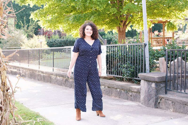 Postcards from Italy Printed Button Down Jumpsuit, Navy | Plus Size