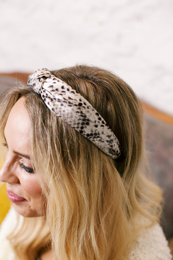 Snake Print Silk Headband, Grey