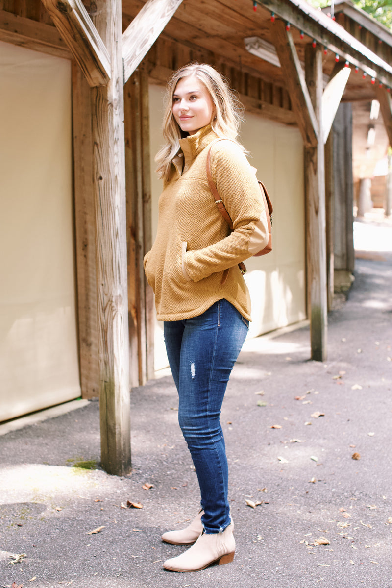 Textured Fleece Pullover, Biscotti