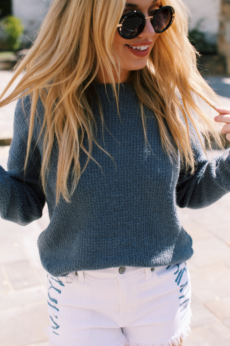 San Francisco Solid Sweater, Light Teal
