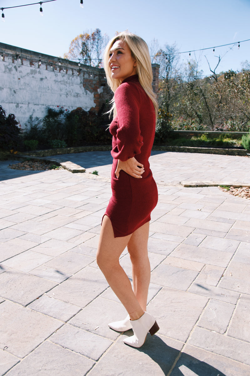 French Nights Rib Knit Dress, Wine