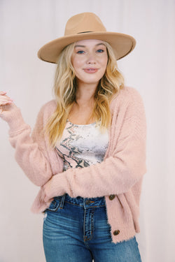 Elodie Eyelash Knit Cardigan, Misty Rose