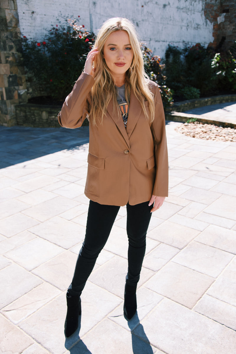 Suffolk Vegan Leather Blazer, Camel