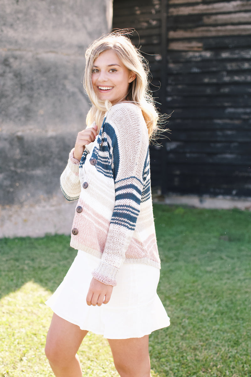 Cadence Striped Cardigan, Teal Multi