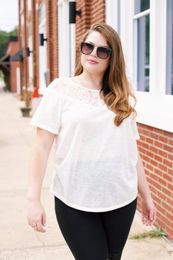 Marie Lace Tee, Off White | Plus Size