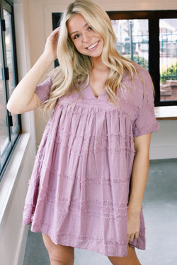Pippa Textured Cotton Babydoll Dress, Mauve