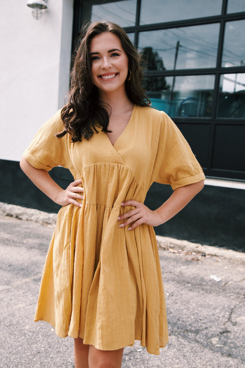 Sawyer Textured Babydoll Dress, Golden Mustard