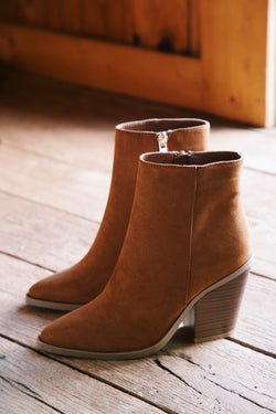 Upstream Western Inspired Bootie, Tobacco Suede