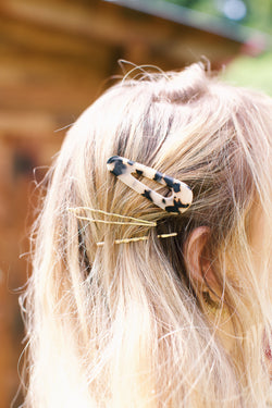 Three Piece Acetate Hair Clip, Tort Multi