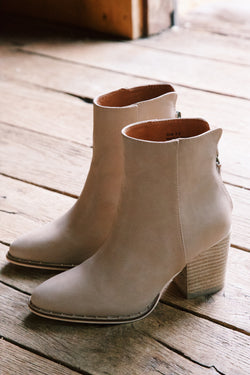 Wendy Zip Back Bootie, Taupe PU