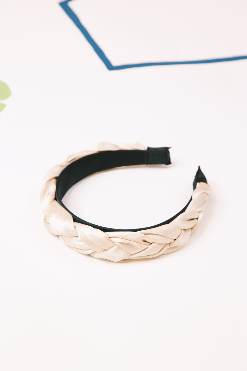 Queen B Satin Braided Headband, Cream Gold