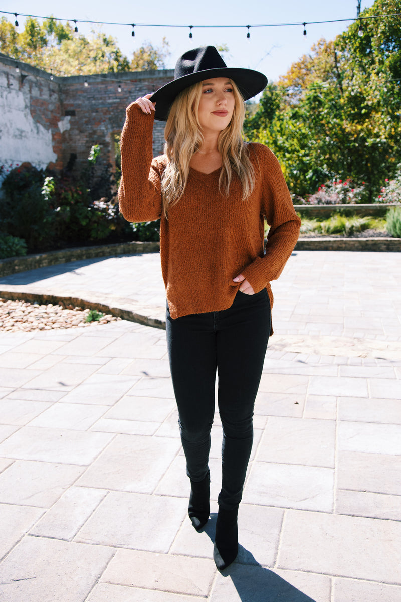 Nolan V-Neck Sweater, Rust