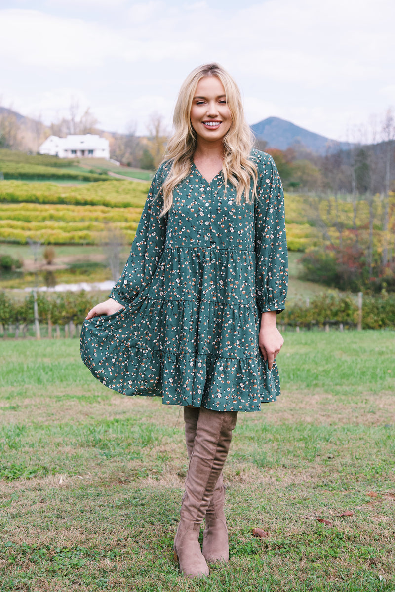 Telluride Tiered Floral Dress, Hunter Green