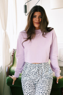 Aniston Cropped Pullover Sweatshirt, Lavender