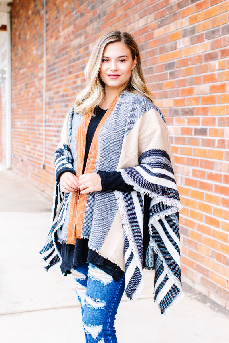 Striped Multi Color Shawl, Tan/Black Multi