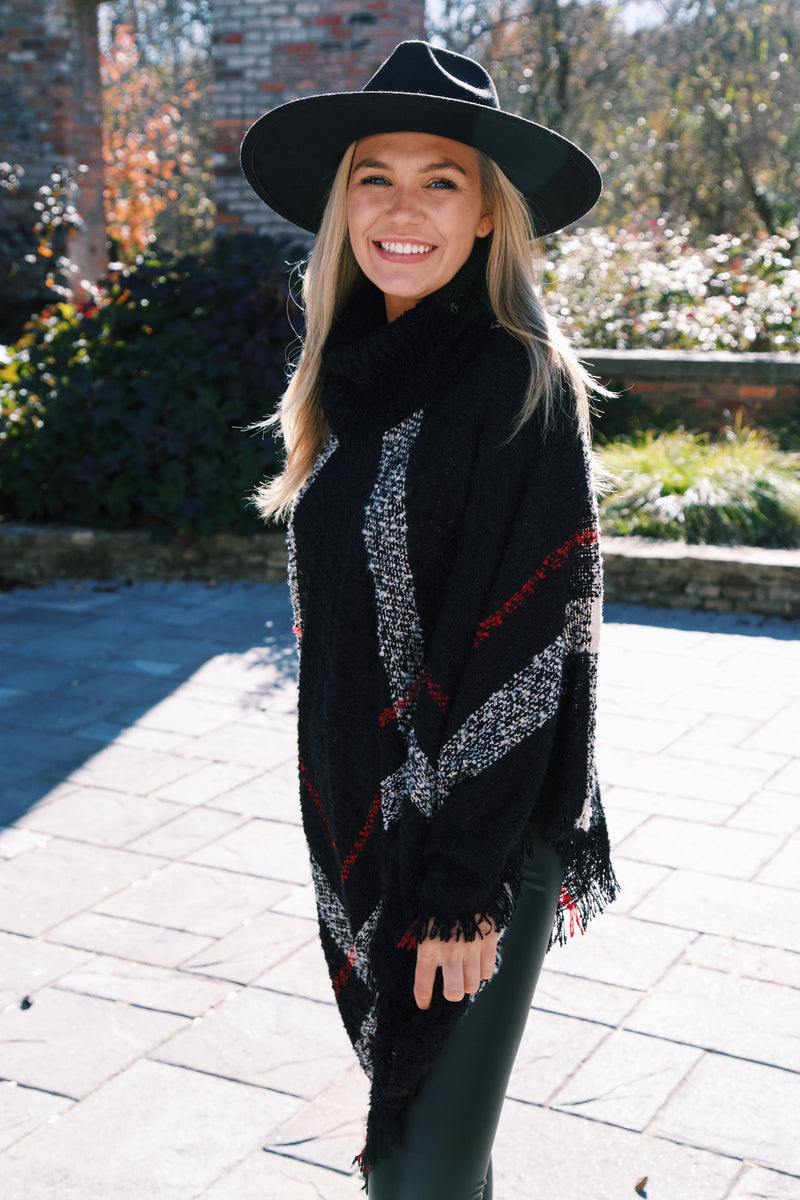 Stay For A Minute Plaid Turtleneck Poncho, Black