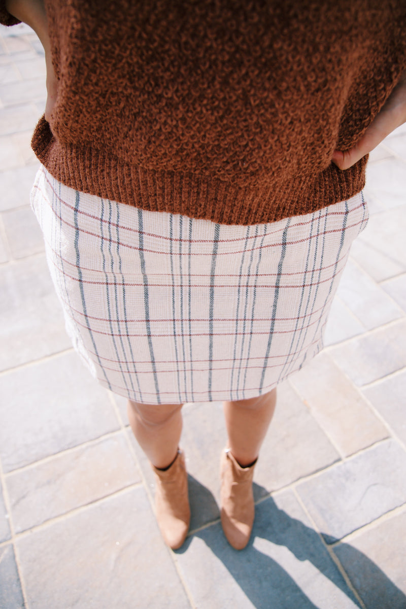 Cher Plaid Mini Skirt, Beige/Cream