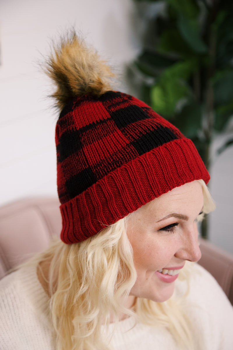 Hitting the Slopes Buffalo Plaid Knit Beanie, Red/Black