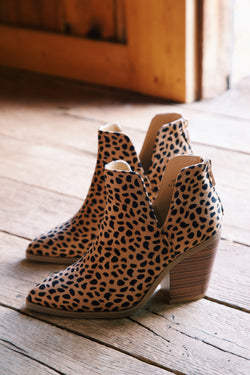 Upstream Side Cut Out Western Bootie, Cheetah