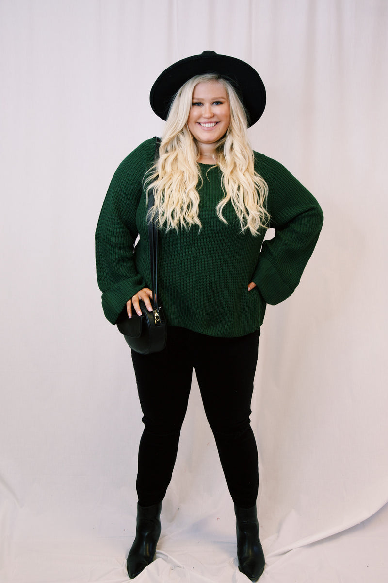 Maxwell Pullover Sweater, Hunter Green | Plus Size