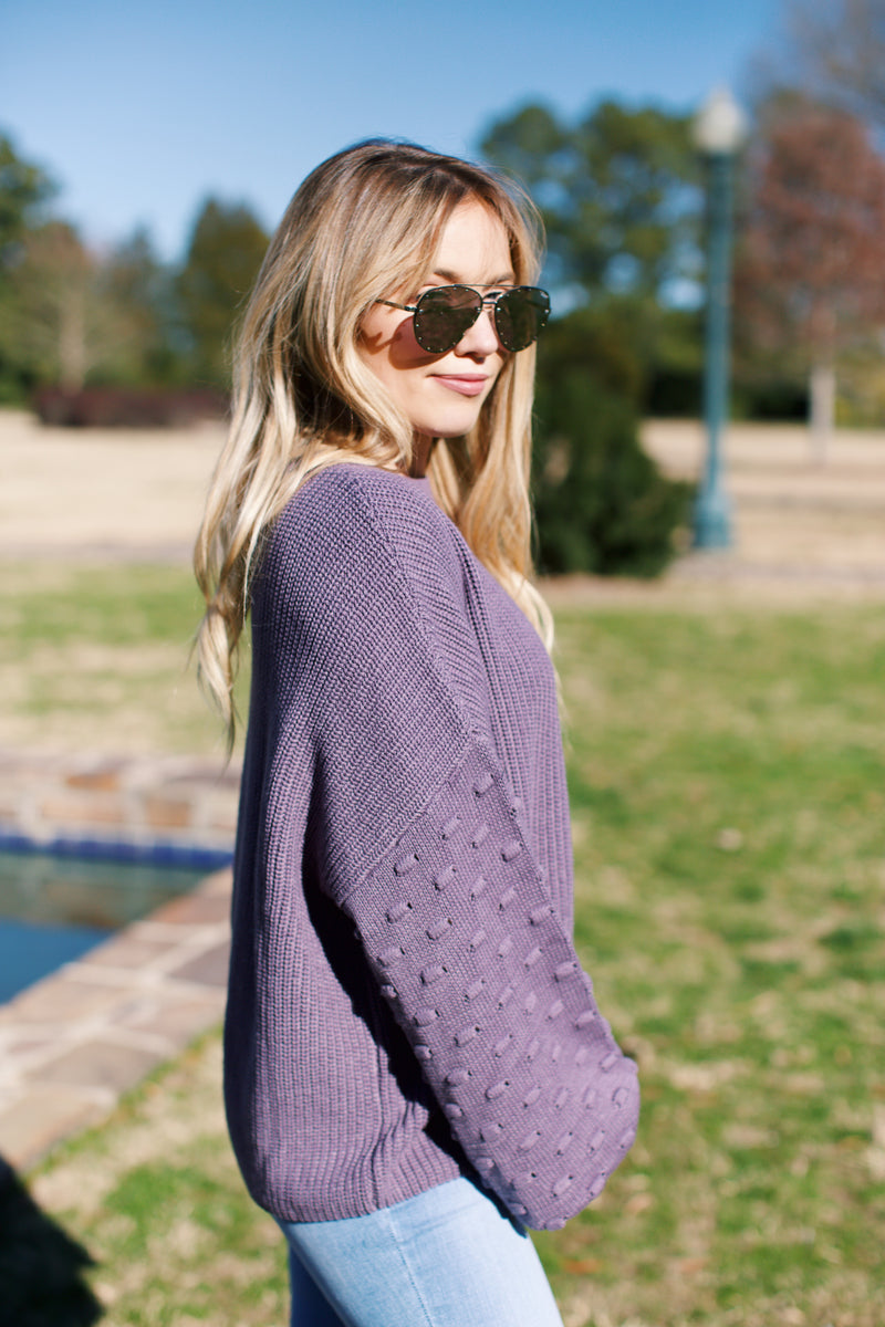 Brookhaven Balloon Sleeve Sweater, Grape