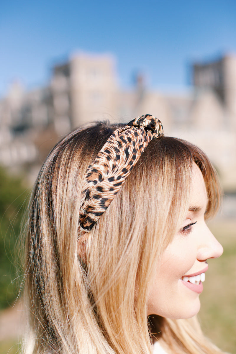 Leopard Print Knotted Headband, Brown