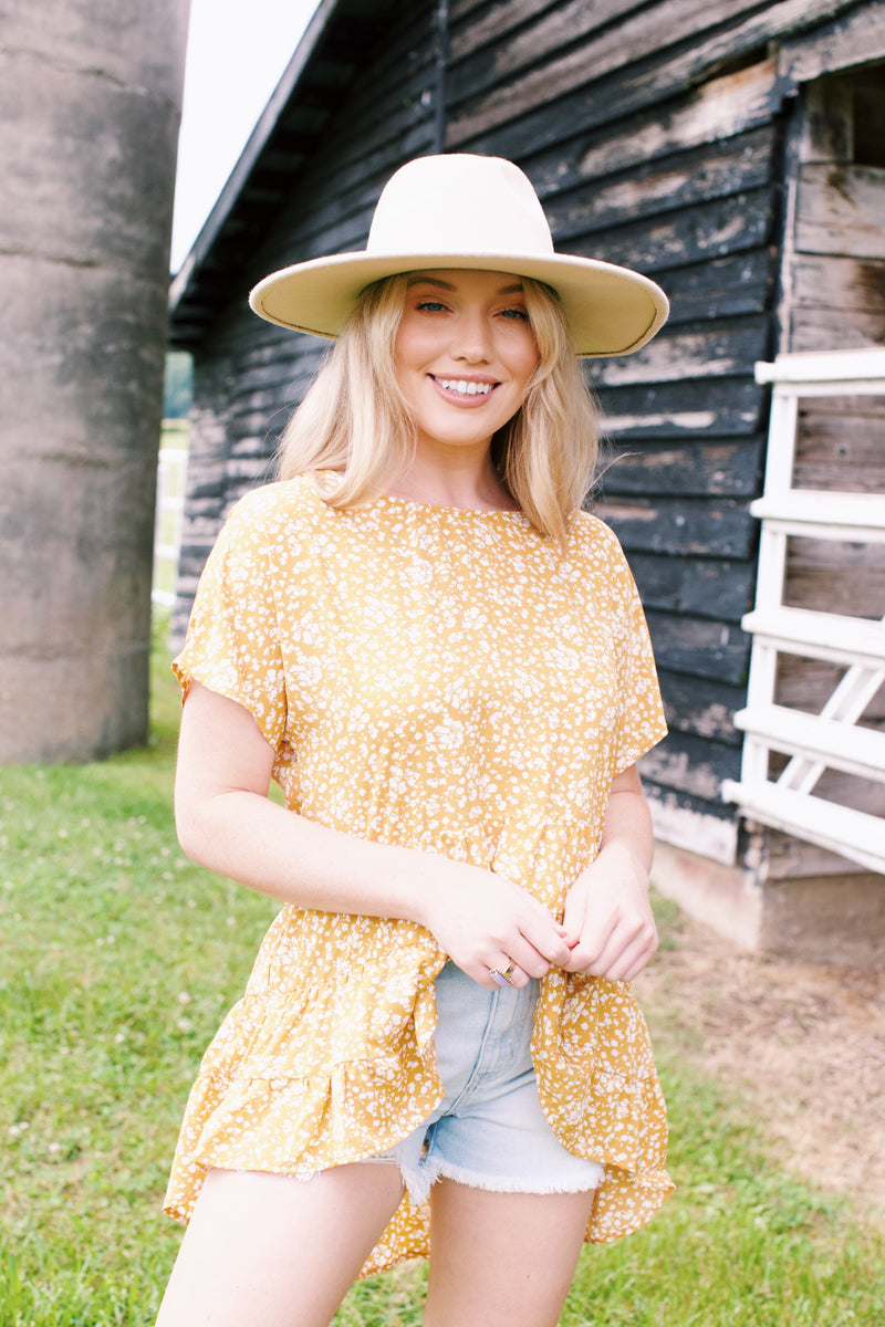 I Like It Like That Ruffle Blouse, Mustard