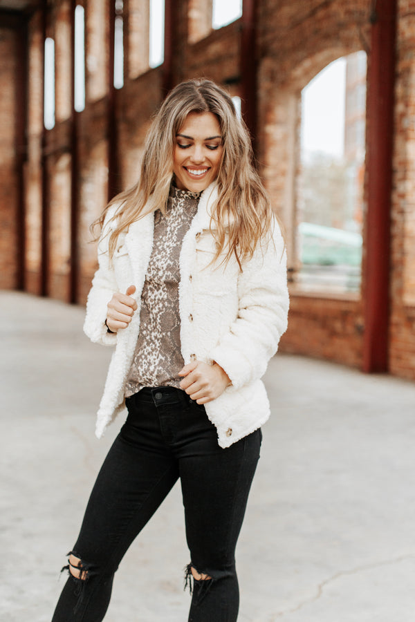 5th Of November Fluffy Button Up Jacket, Ivory