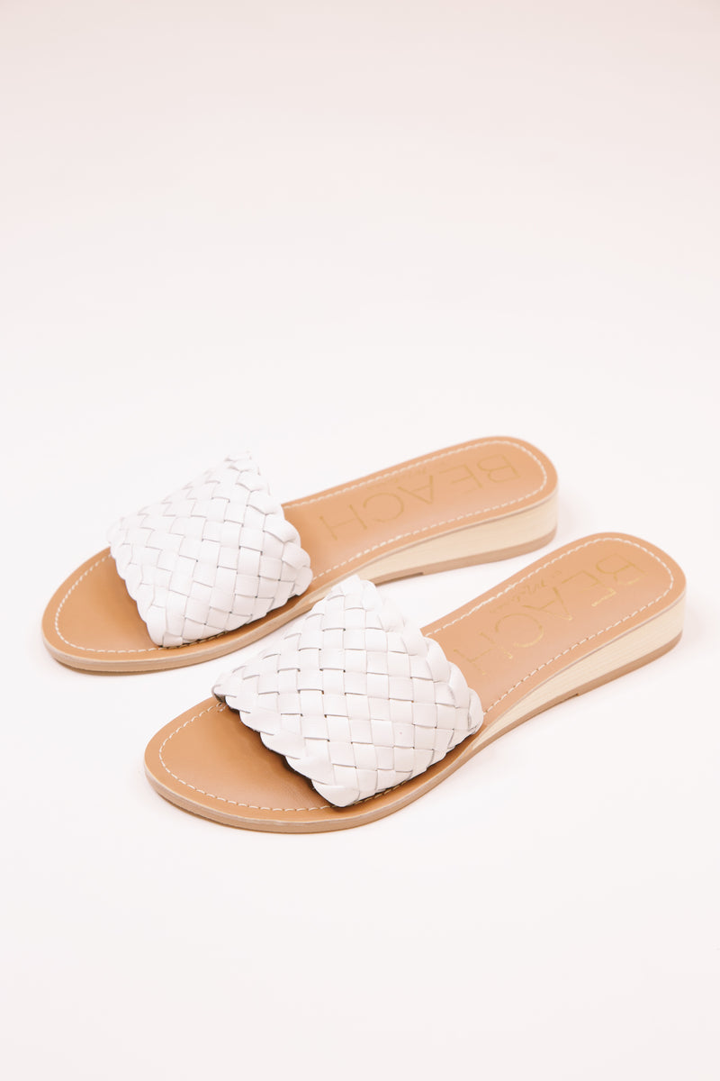 Pipeline Woven Leather Sandal, White | Beach by Matisse