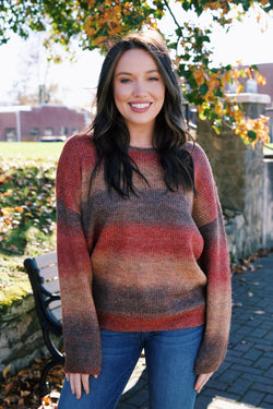Tanner Multi Color Pullover Sweater, Brown Multi