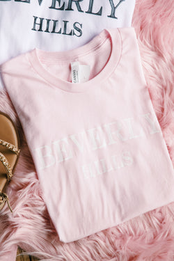 Beverly Hills Graphic Tee, Light Pink