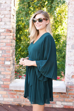 Piper Pleated Dress, Forest Green