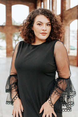 Claire Lace Bell Sleeve Dress, Black | Plus Size