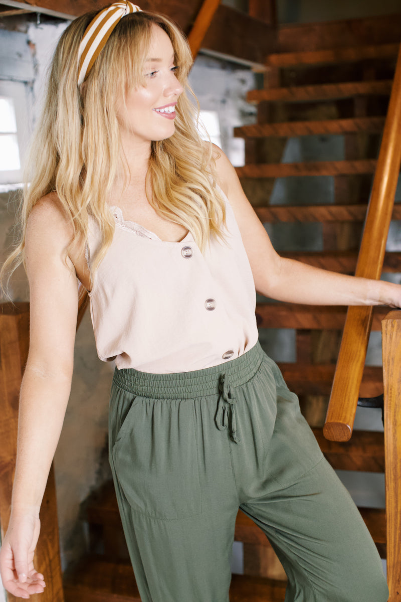 Everyday Button Tank Top, Sand
