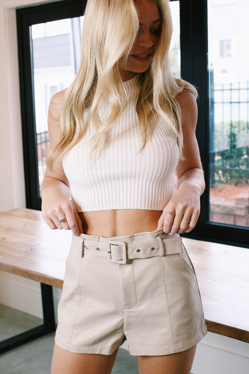 Mazie High Waisted Vegan Leather Shorts, Cream
