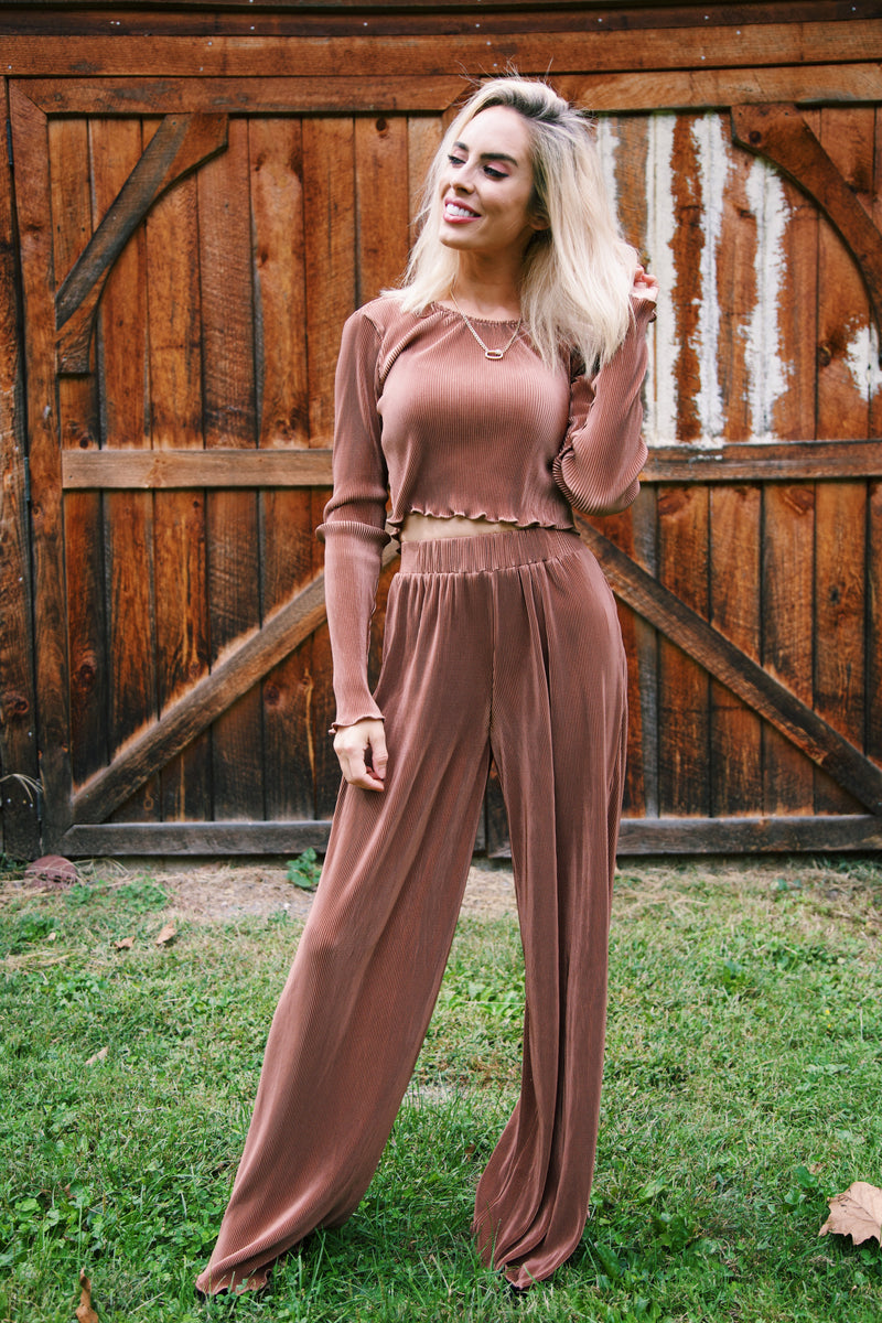 Caty Pleated Pant, Brown