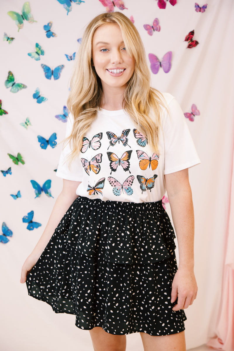 Not So Basic Butterfly Graphic Tee, White | Extended Sizes Available