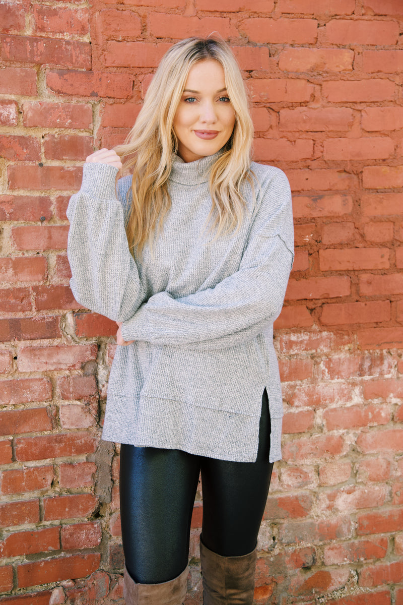 Austen Turtleneck Top, Heather Grey
