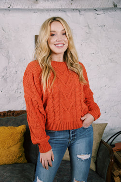 Bradberry Cable Knit Sweater, Chili