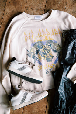 Def Leppard On The Prowl Varsity Crew Sweatshirt, Sand | DayDreamer