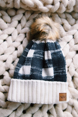 Snow Drift Buffalo Plaid Knit Beanie, Cream/Grey