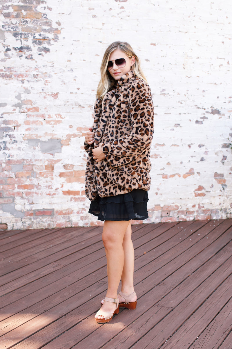 Lydia Leopard Print Coat, Brown Mix