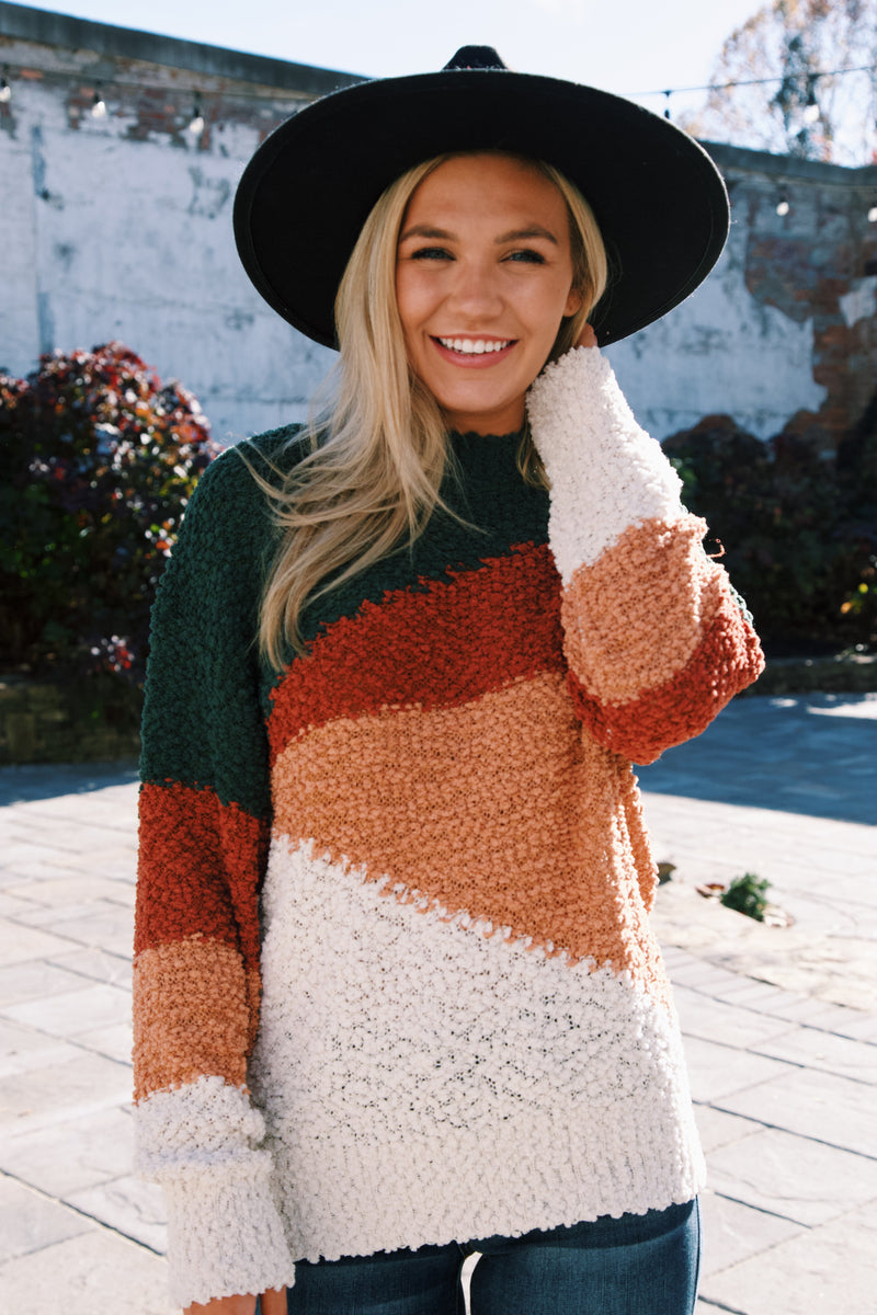I Get Carried Away Colorblock Sweater, Green Multi