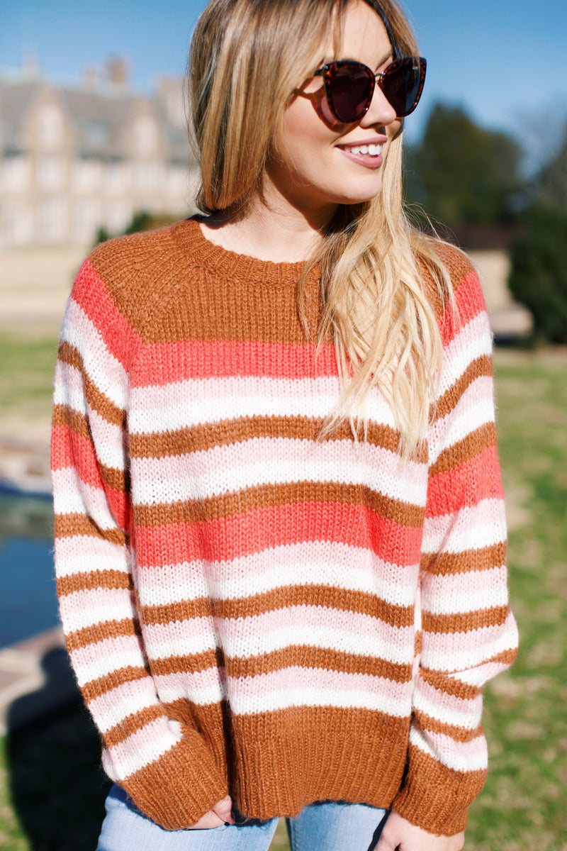 Ashling Park Color Block Sweater, Coral Multi